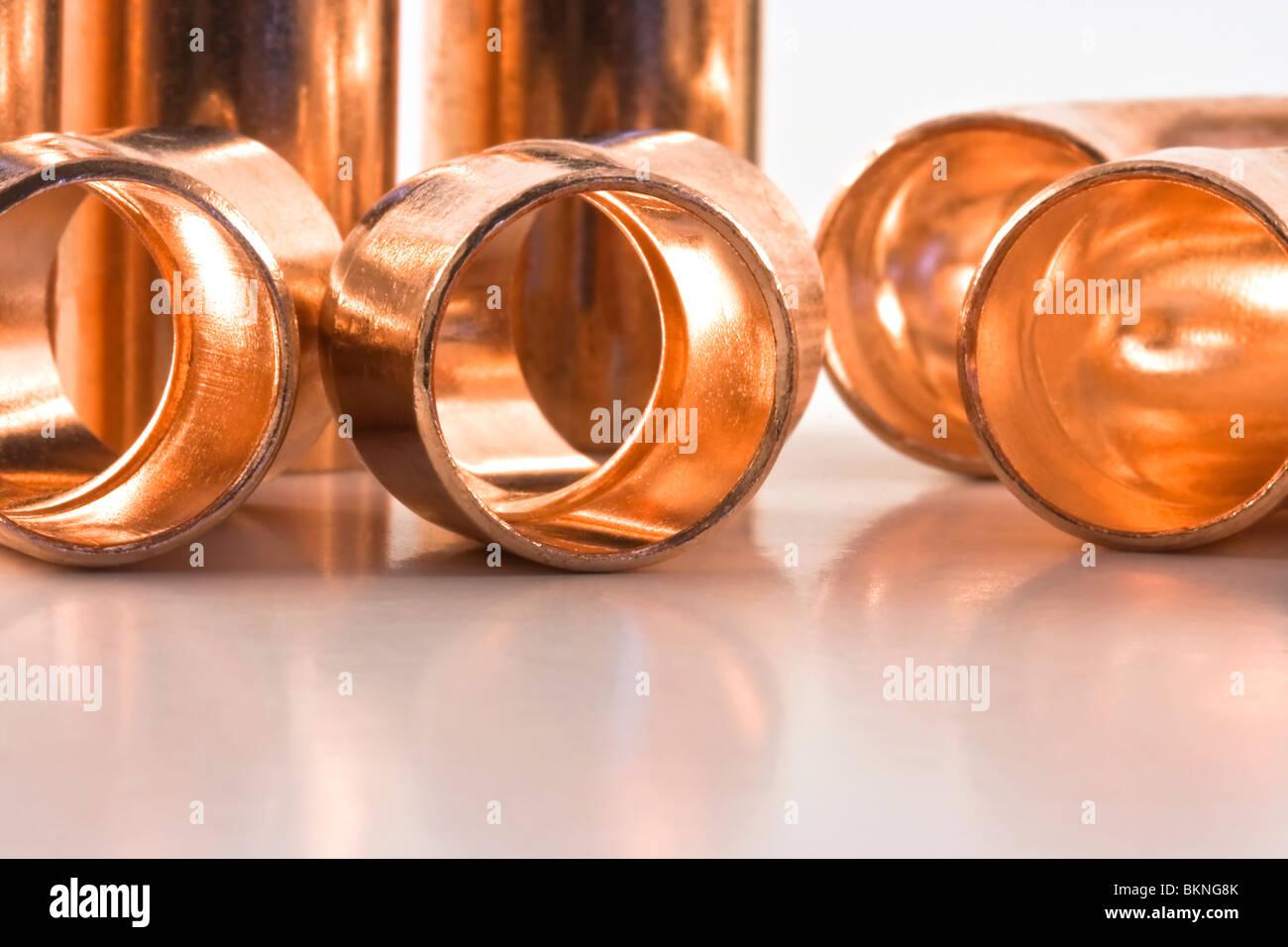 Half inch copper sweat fittings - Stock Image