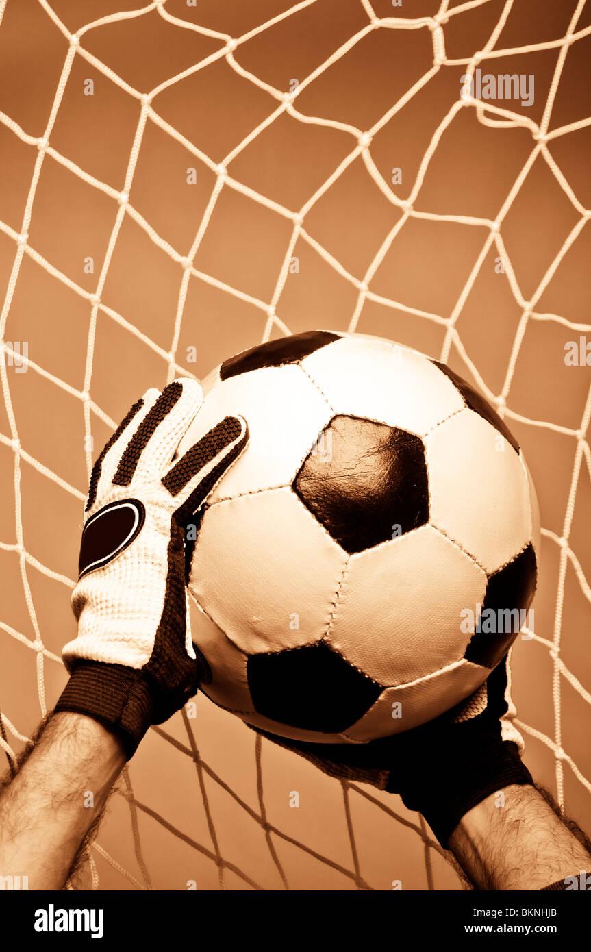 football goalkeeper making a save - Stock Image