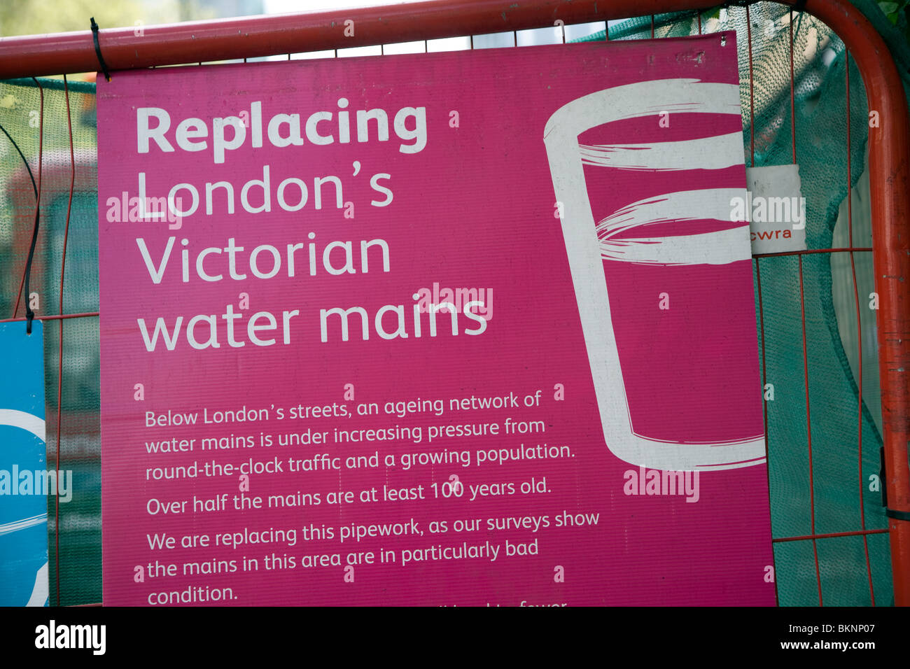 Replacing London's Victorian water mains sign, London, England - Stock Image