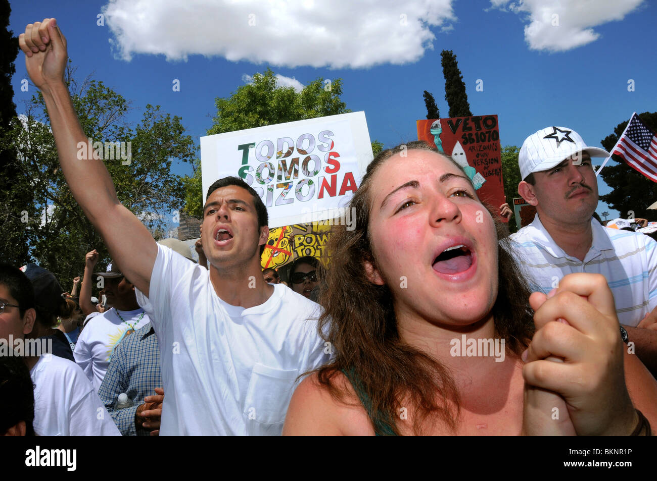 La Gran Marcha on May 1, 2010, in Tucson, Arizona, USA, protesting the bill SB1070 that targets illegal immigration. Stock Photo