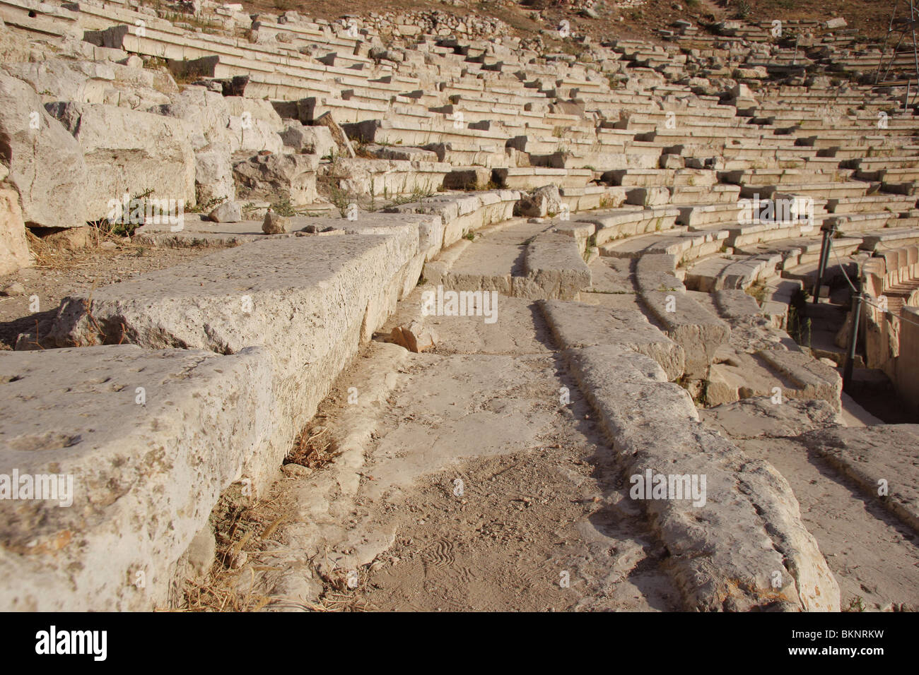 Greek Art. The Theater of Dionysus. Built at he foot of the Acropolis.( V B.C.).  Detail of Koilon or Theatron. - Stock Image