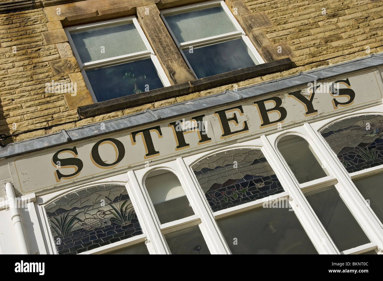 Sign above the former Sotheby's auctioneer shop in Harrogate North Yorkshire England UK United Kingdom GB Great - Stock Image
