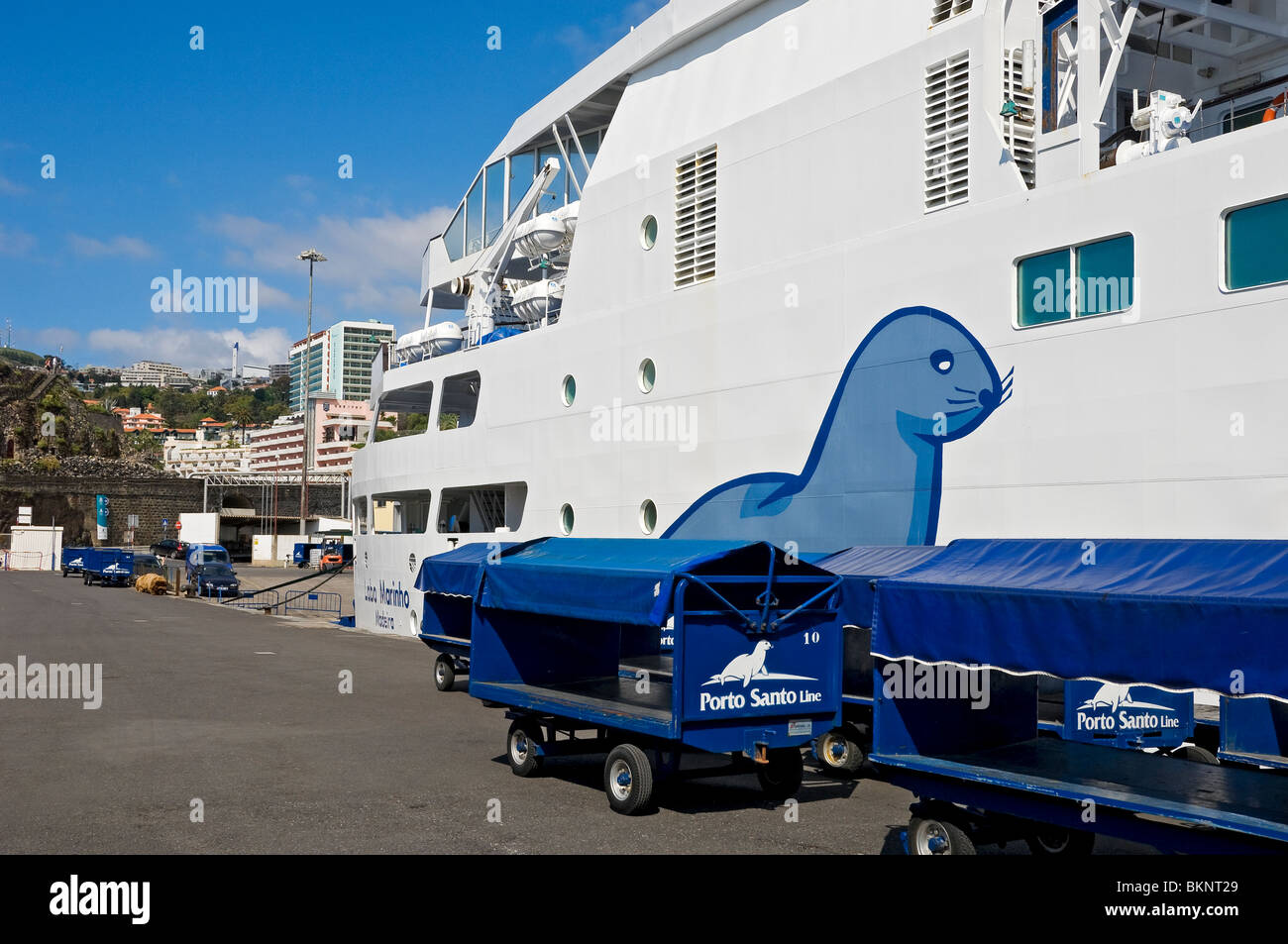 Porto Santo Ferry moored in Funchal Harbour Madeira Portugal EU Europe - Stock Image
