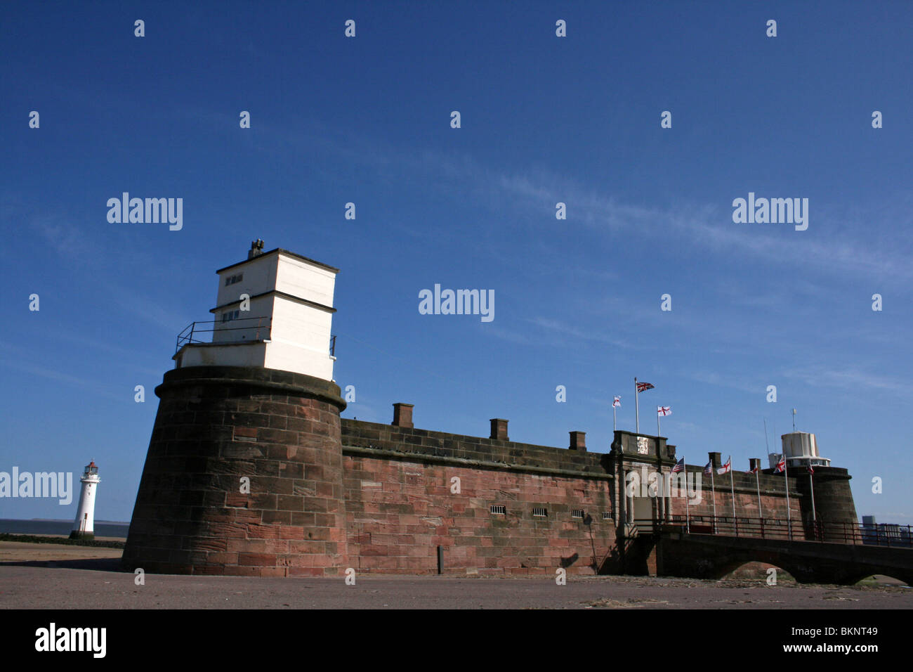 Fort Perch Rock And Lighthouse At New Brighton, The Wirral, Wallasey, Merseyside, UK - Stock Image