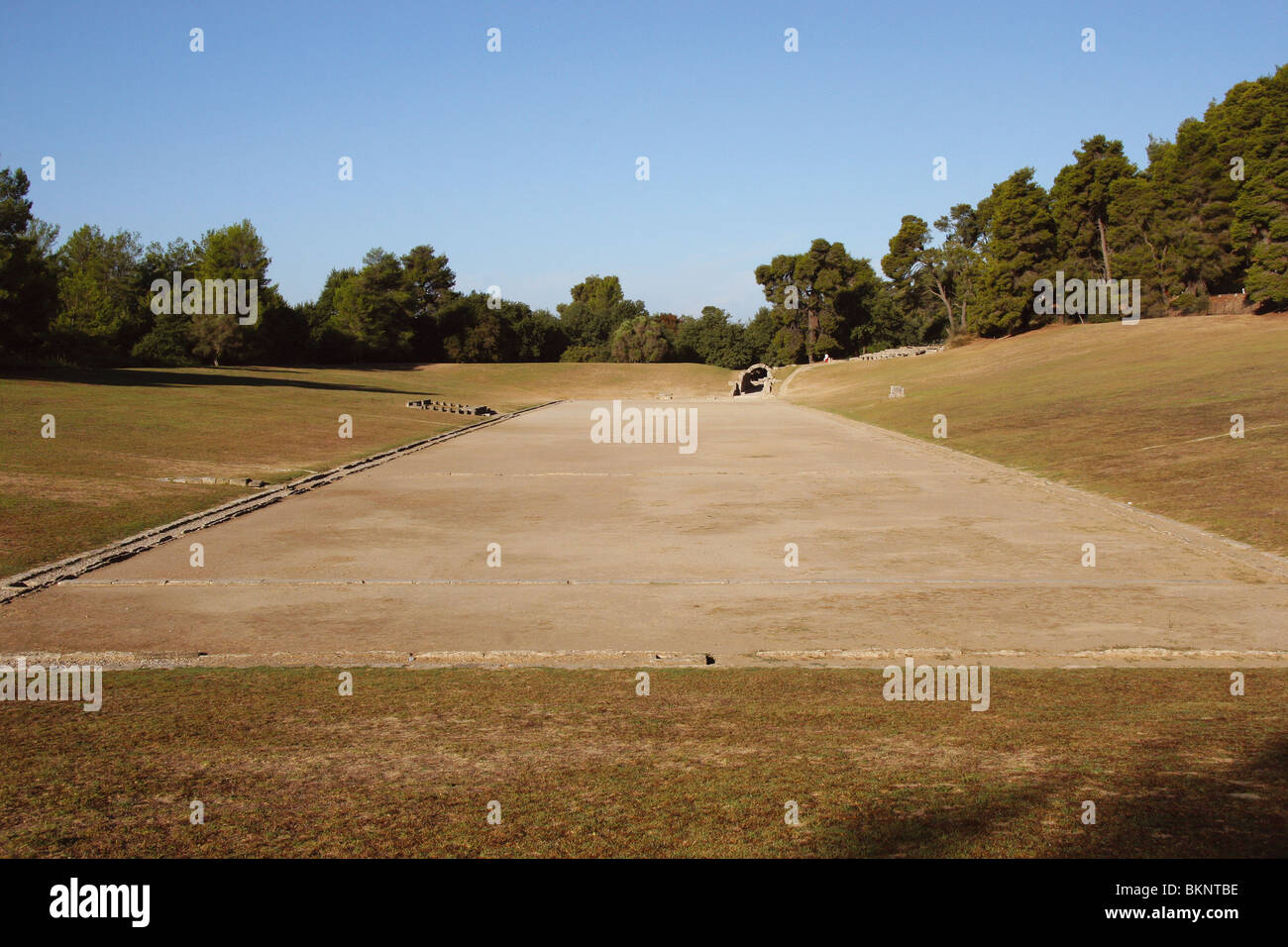 Sanctuary of Olympia. Panorama of the ancient Olympic Stadium. The east of archaelogical site. Elis. Peloponesse. - Stock Image