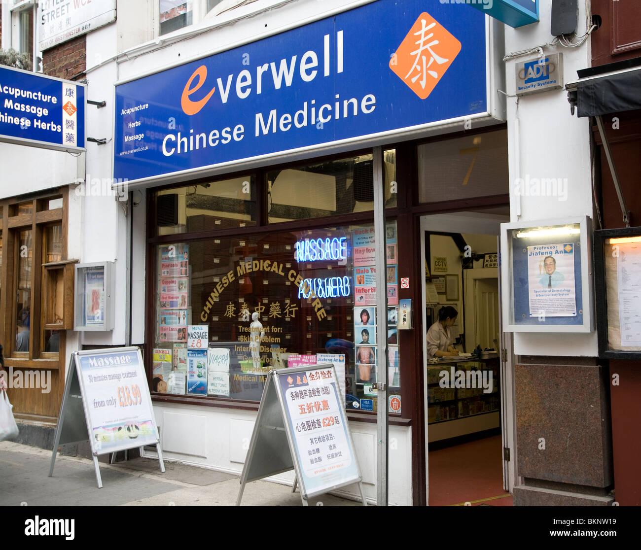 Chinese medicine shop, Chinatown, Soho, London, England Stock Photo