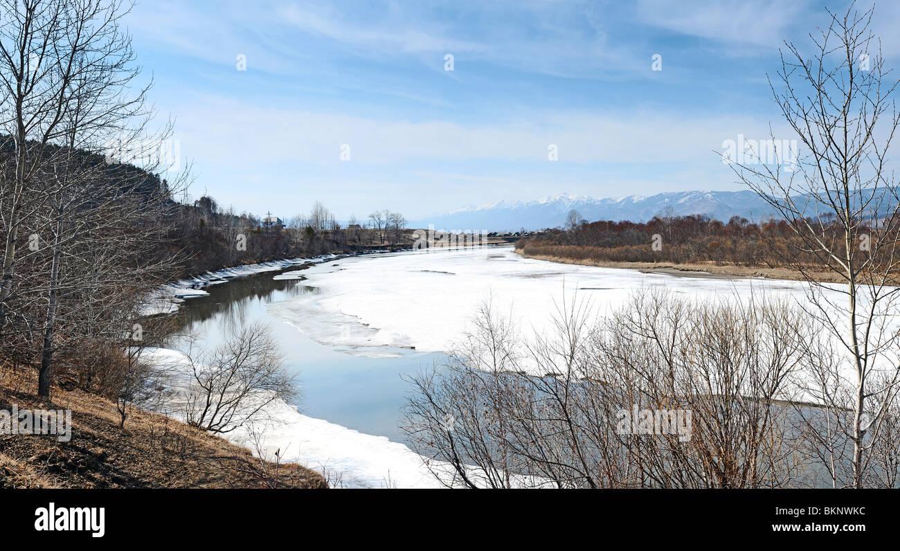 River Irkut. Siberia Russia. Spring - Stock Image