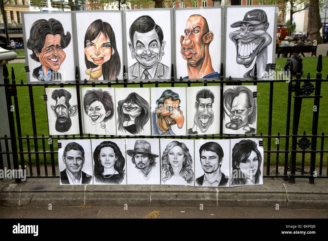 Street portrait artist cartoons famous people, Leicester ...