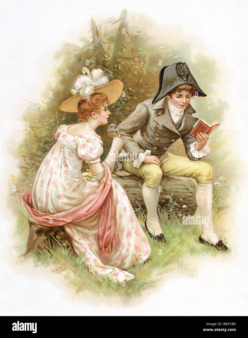 Young Man Reads a Story to a Young Lady - Stock Image