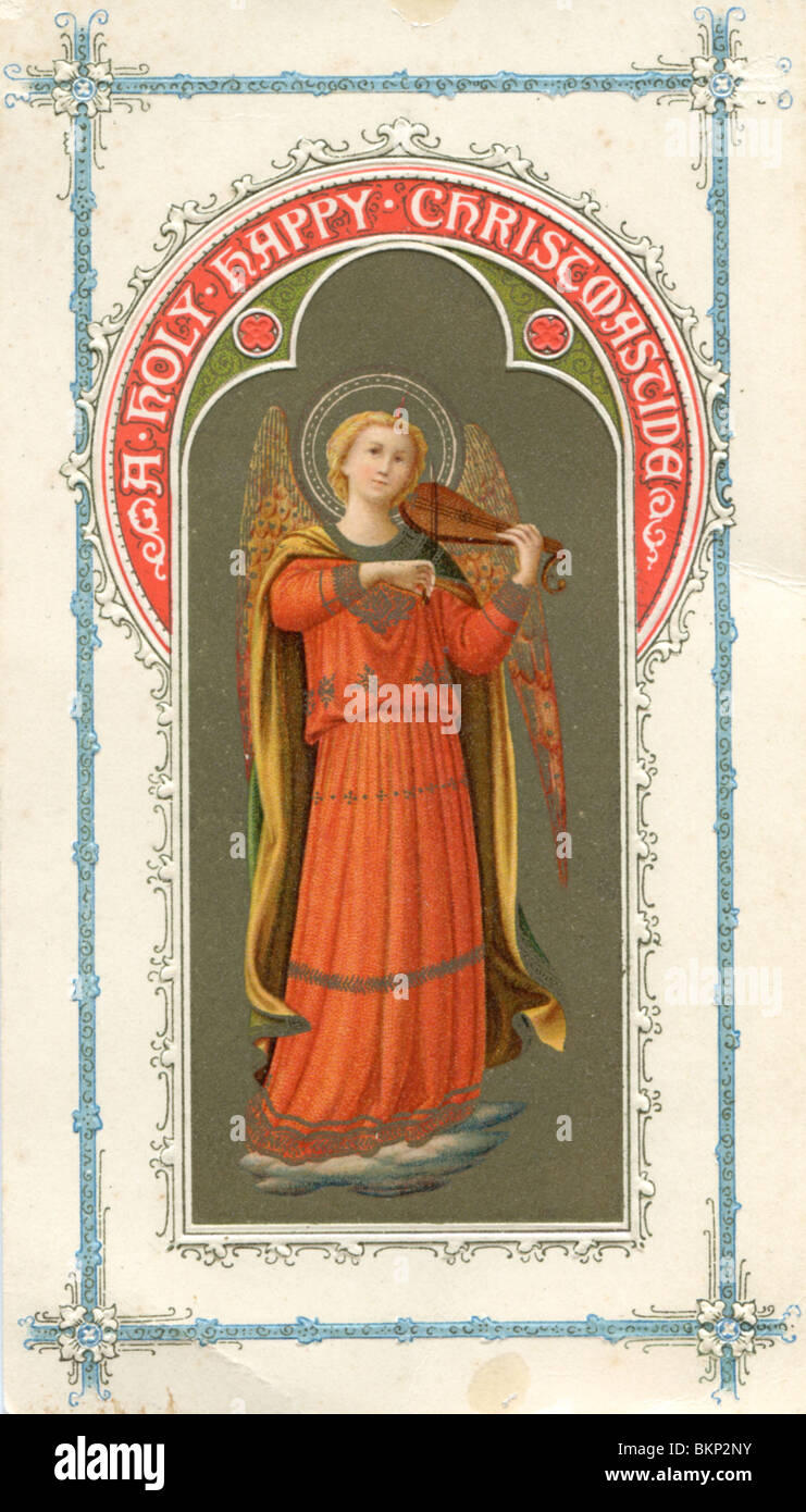 victorian christmas card with angel and decorative border stock image
