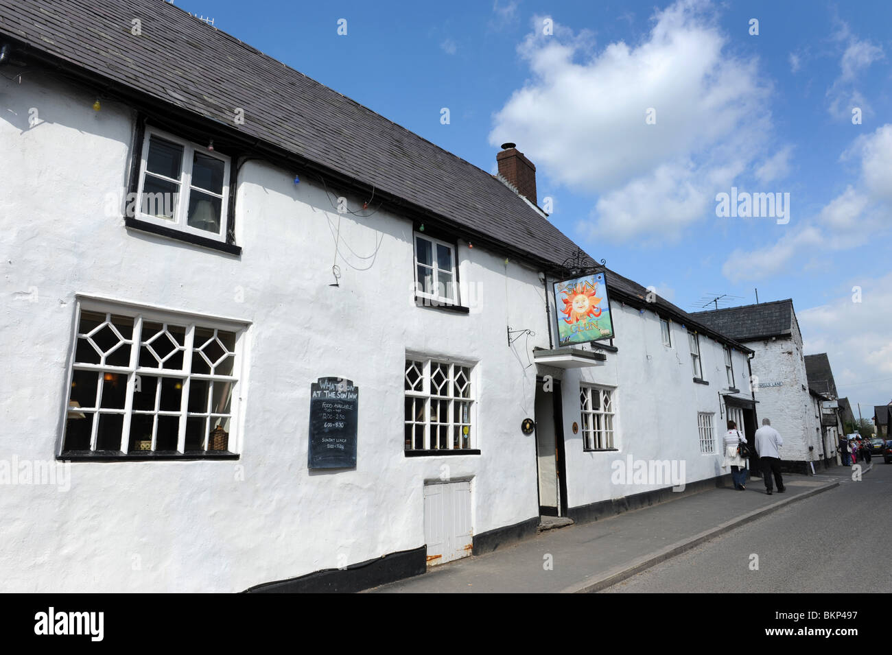 The Sun Inn at The English village of Clun in South Shropshire England Uk - Stock Image
