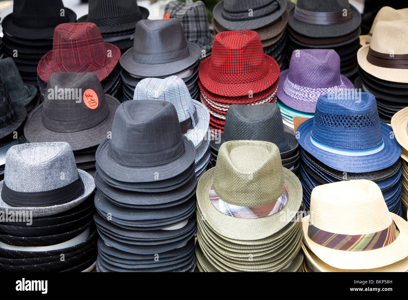 d4bd2110d72e38 Hats for sale on street market stall, London, England · geogphotos / Alamy  Stock Photo