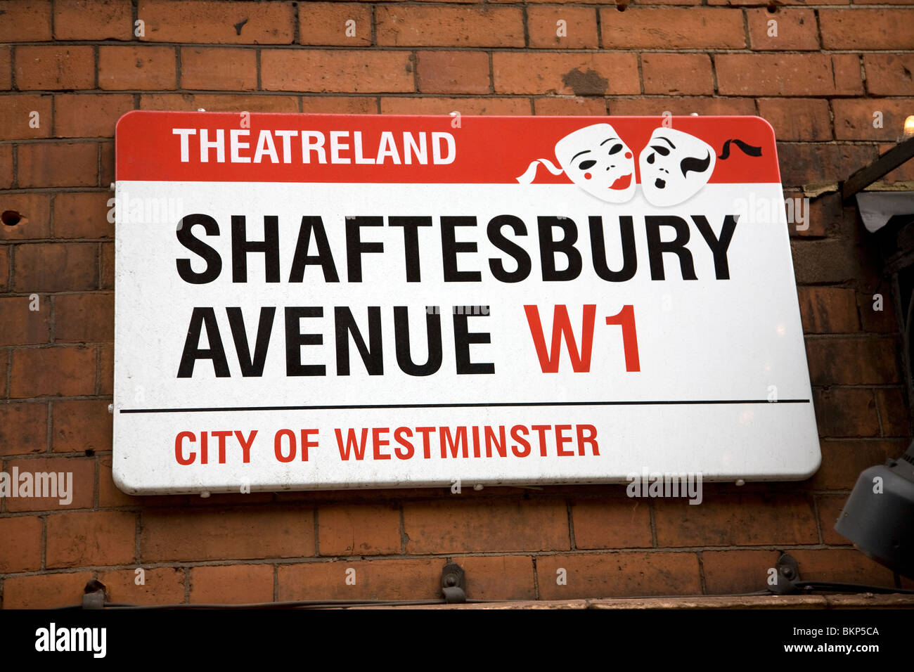 Street sign Shaftesbury Avenue, Theatreland, London, W1, England, City of Westminster - Stock Image