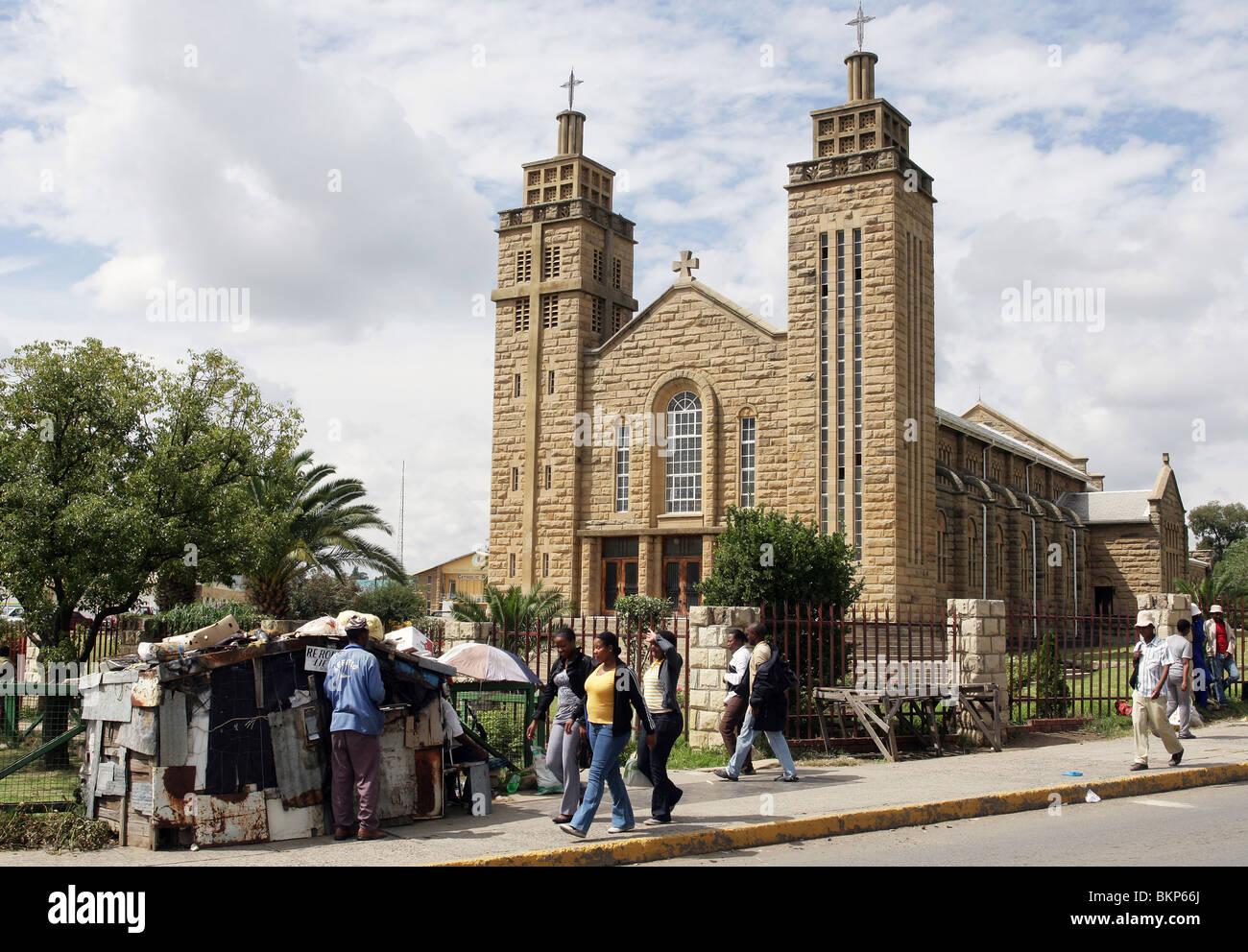 roman catholic Cathedral in Maseru, Capital of Lesotho - Stock Image