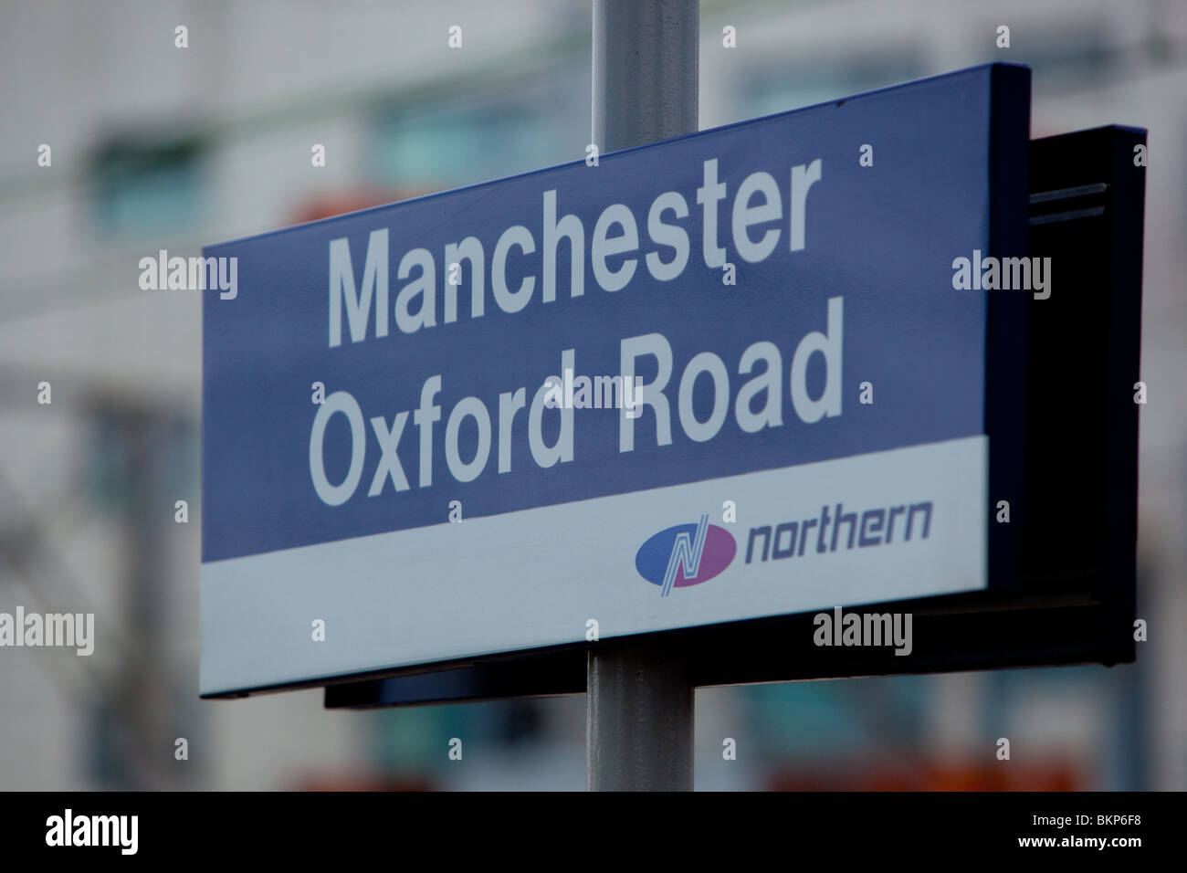 Station Identification sign at Manchester Oxford Road Station - Stock Image