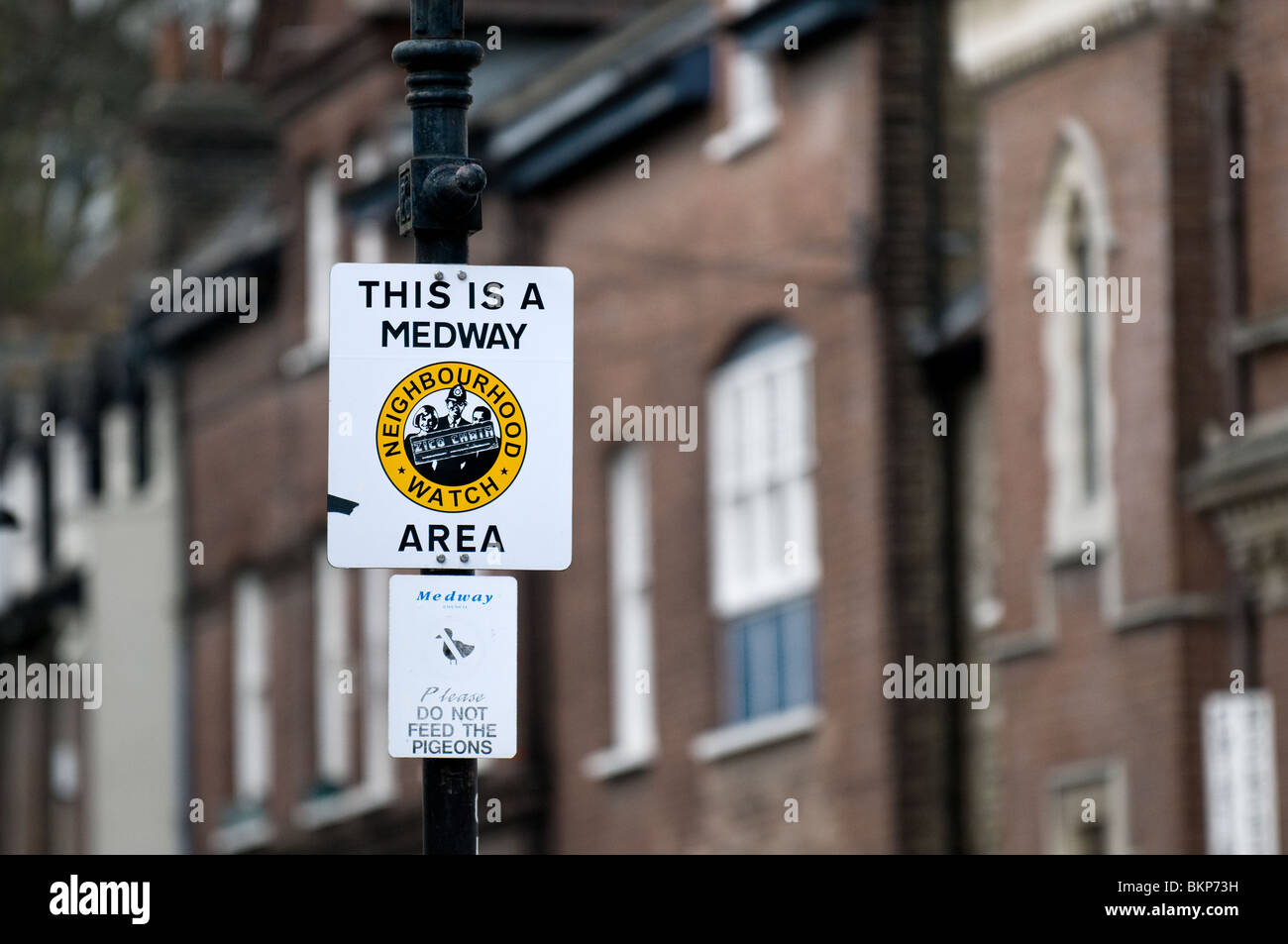 A Neighbourhood Watch sign on a post.  Photo by Gordon Scammell - Stock Image