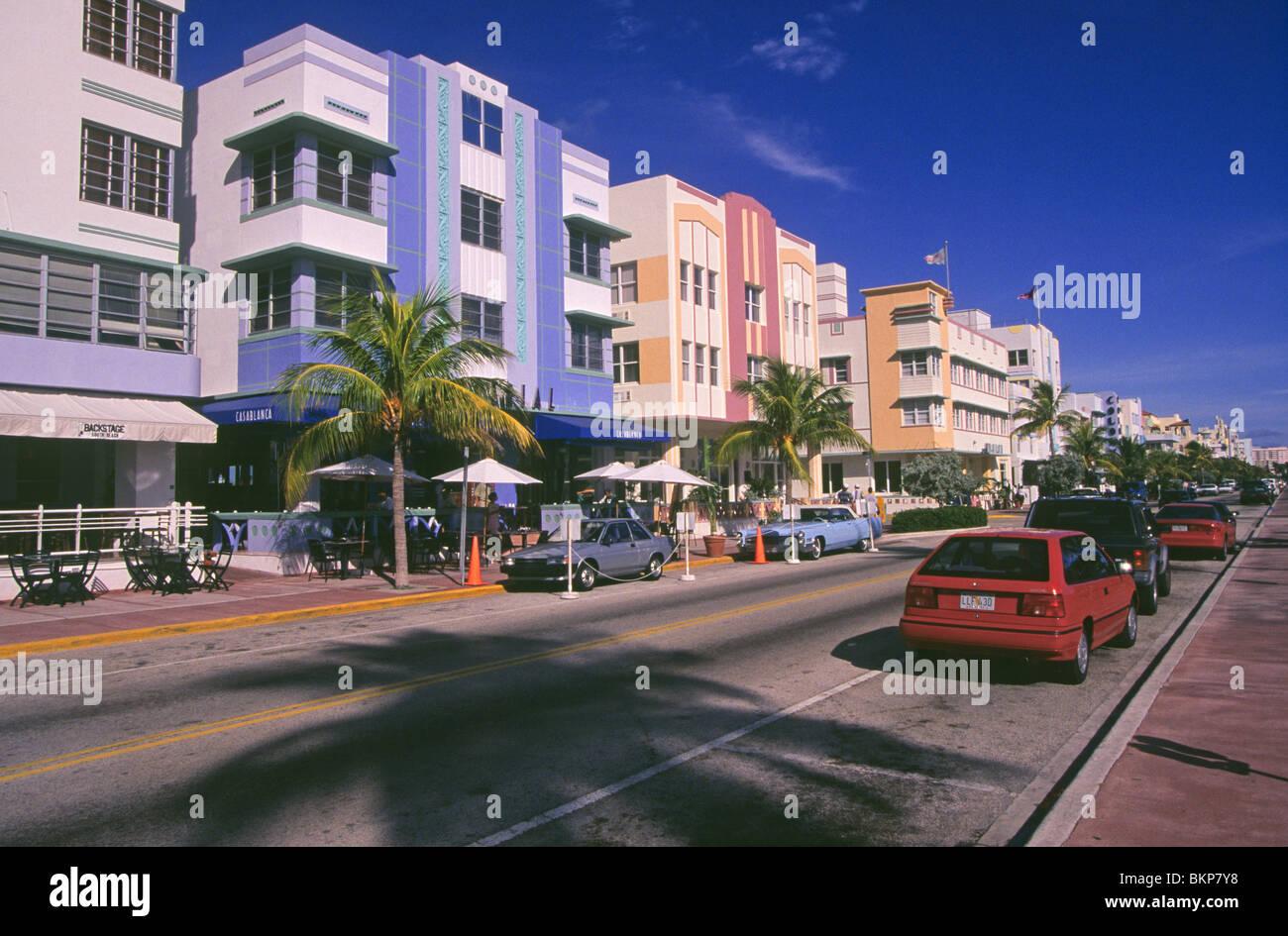 art deco buildings along ocean avenue in south beach miami beach