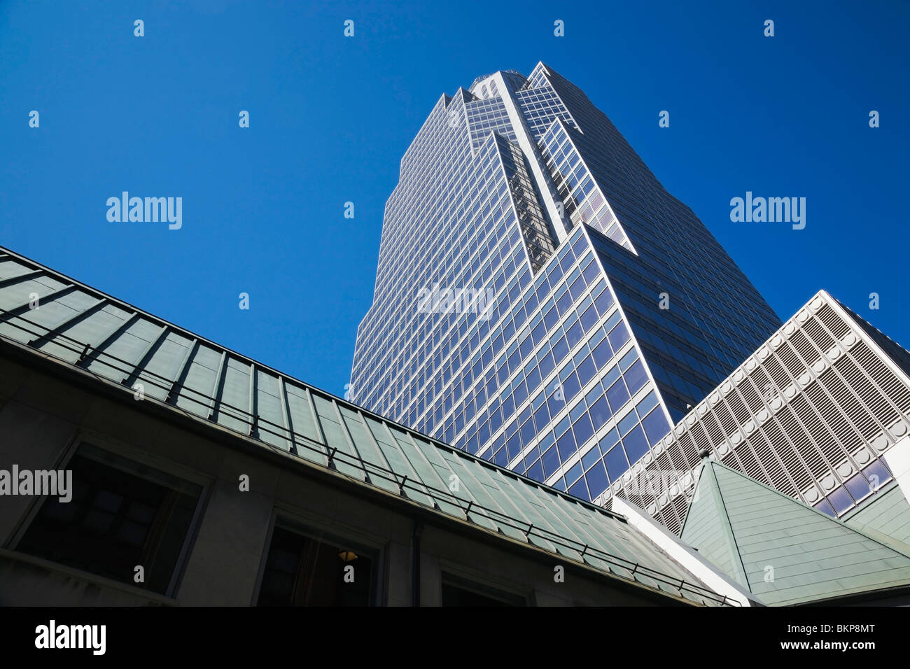 Montreal, Quebec, Canada; Promenades De La Cathedrale Office Tower And Partial View Of Christ Church Cathedral Stock Photo