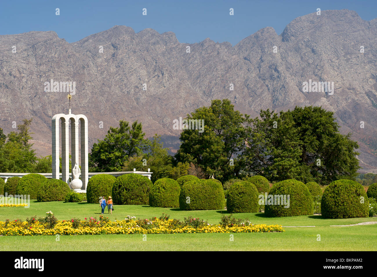 The Huguenot monument in the town of Franschhoek, Western Cape Province, South Africa. - Stock Image