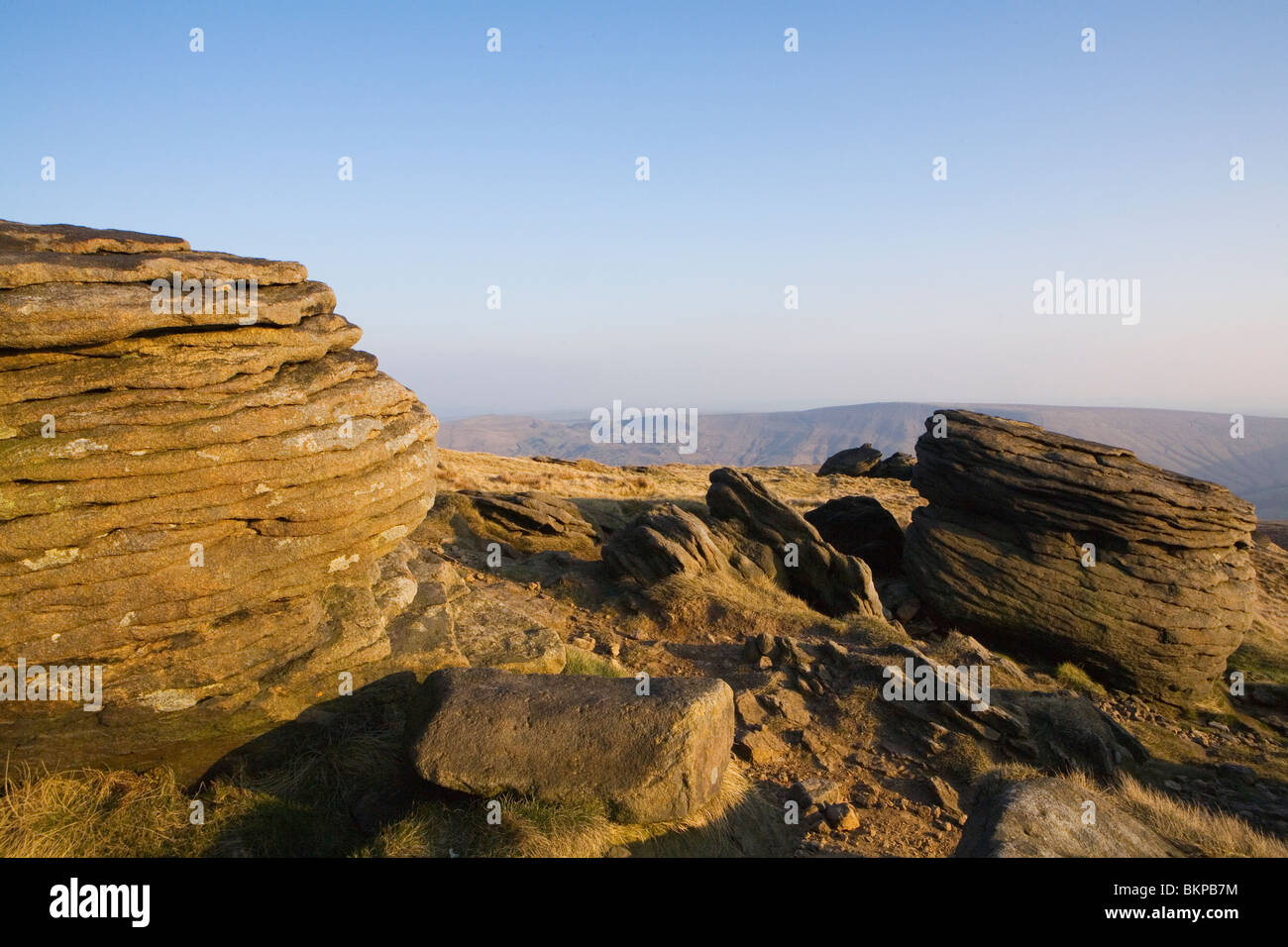 Grindslow Knoll on Kinder  Scout, Peak District, Derbyshire - Stock Image