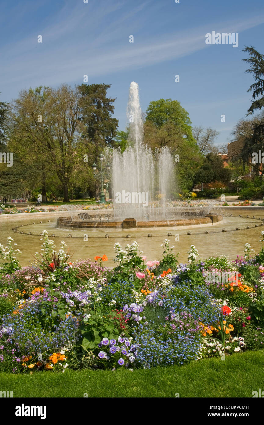 Jardin Du Grand Rond And Fountain With Beautiful Flower Beds In