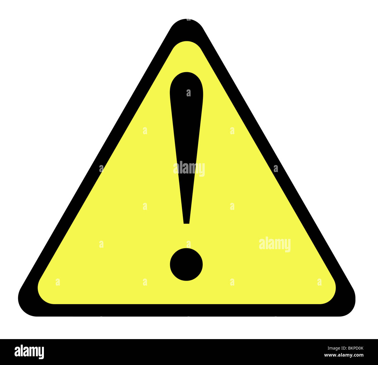 Yellow warning triangle sign with exclamation mark, isolated on white background. - Stock Image