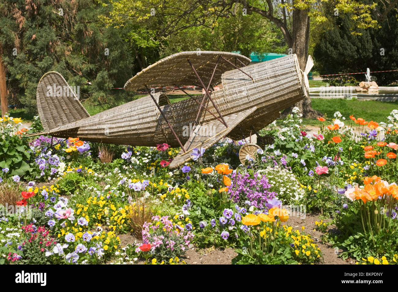 Model Of Raffia Biplane Set Amongst Colurful Flower Bed In Jardin Des Stock Photo Alamy