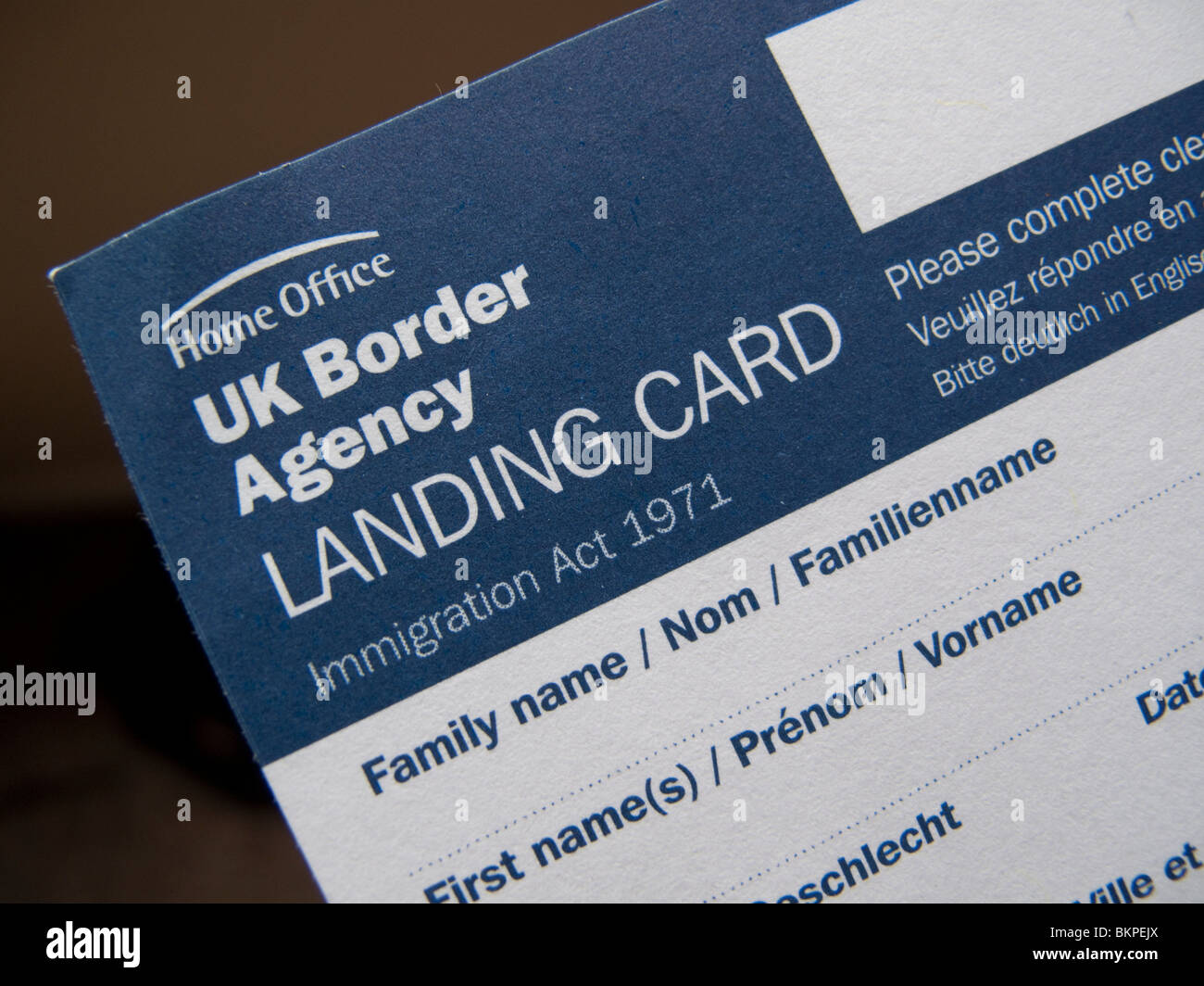 UK Border Agency Landing Card - Stock Image