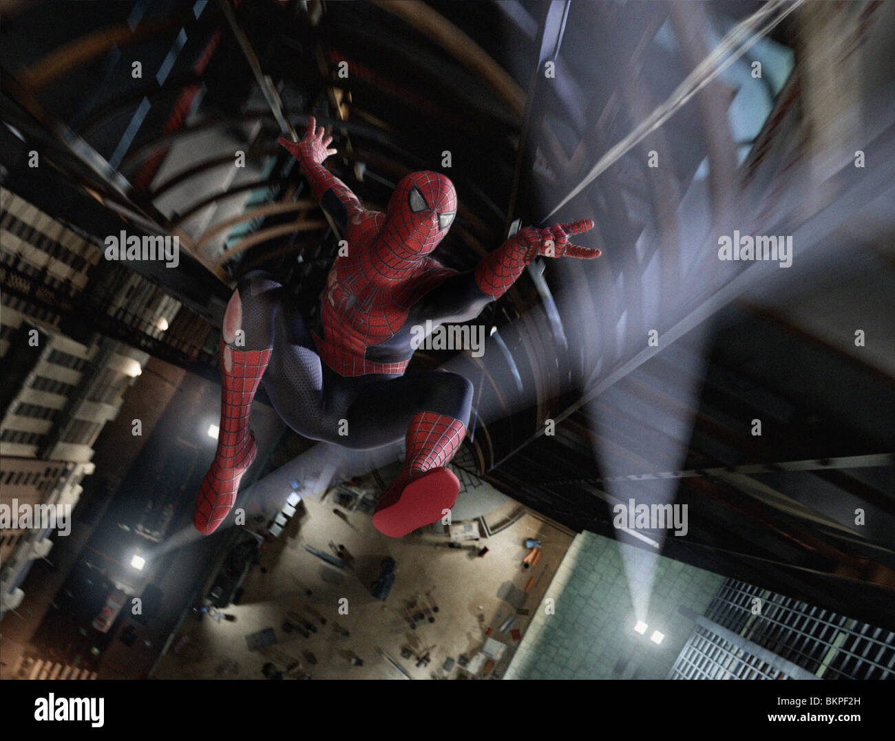 FANTASY, HERO, ACTION FIGURE, CITY SCAPE, NIGHT, BLOOD, SUIT, CGI, COMPUTER GRAPHIC, SPECIAL EFFECTS - Stock Image