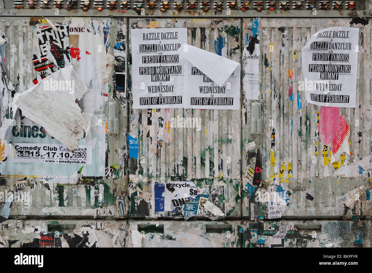 illegal billboard wall on public space in Prenzlauer Berg - Stock Image