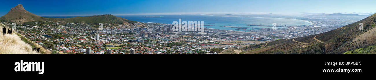 Panoramic montage of Cape Town taken from Tafelberg road. - Stock Image