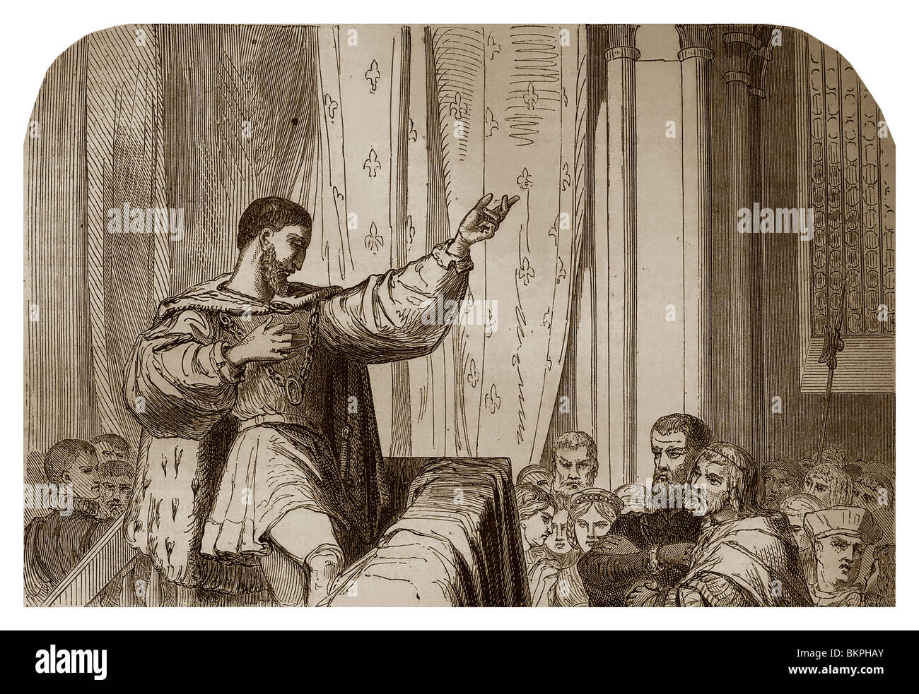 On 21st January 1535, in Paris, in the bishop's palace, Francis I of France, preaching the persecution of Protestants. - Stock Image
