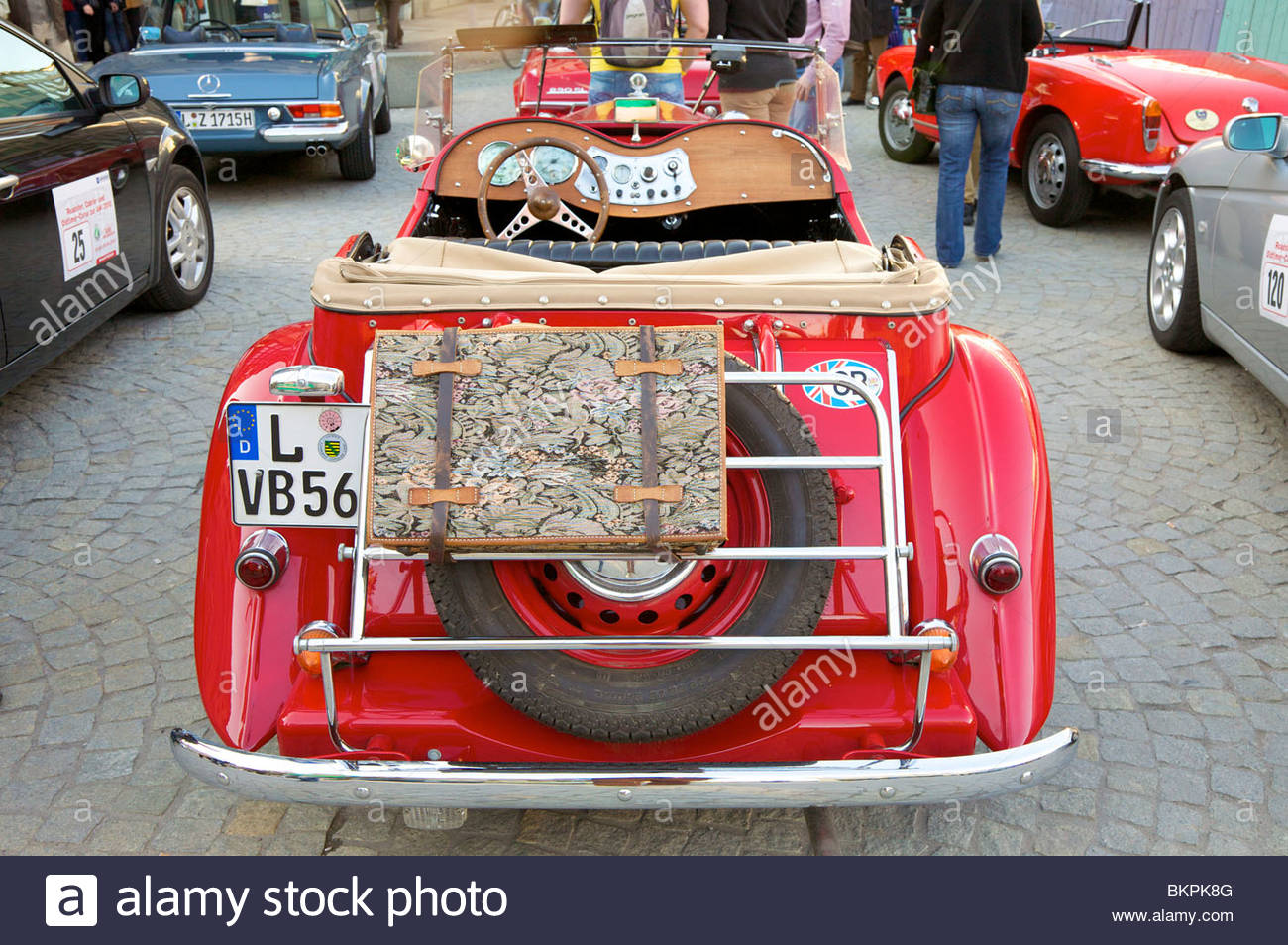 MG T-Type Antique Car from the early 1950's. Taken at a car show in Leipzig, Germany. - Stock Image
