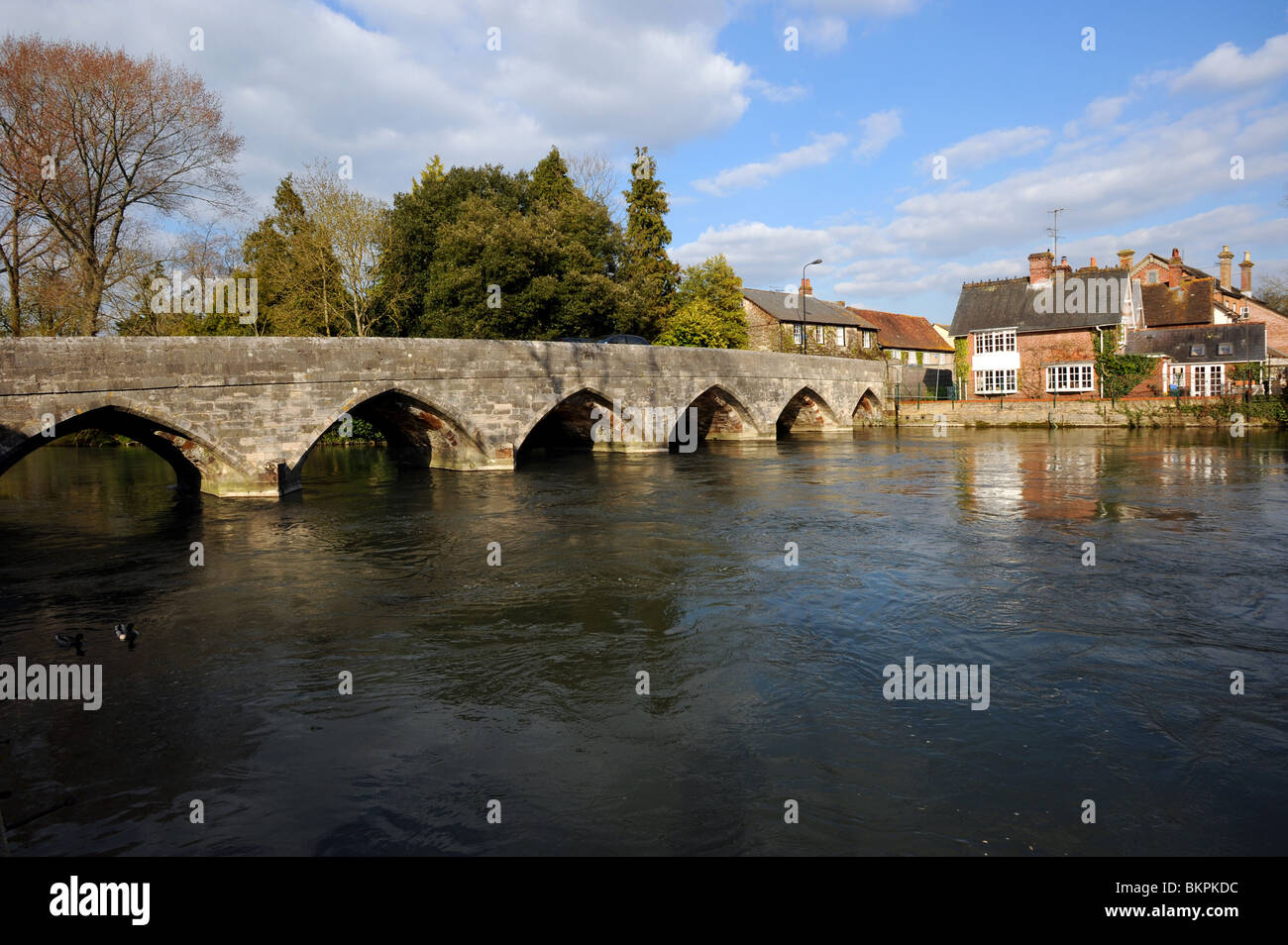 The first great bridge built in medieval times which spans the River Avon at Fordingbridge - Stock Image