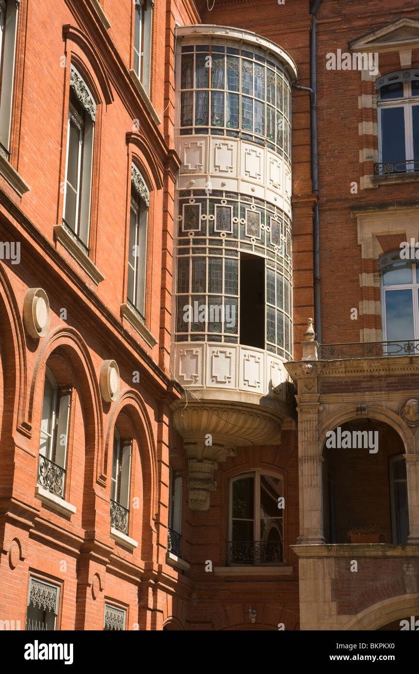 Beautiful Toulouse Brickwork and Classical Balcony Window at