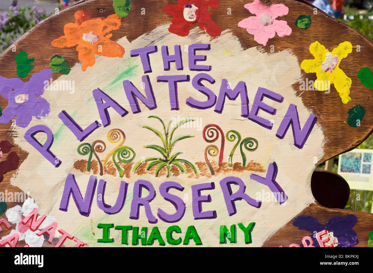 The Plantsmen Nursery, Ithaca, NY colorful plate with painted flowers - Stock Image