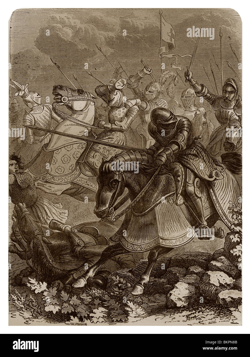 On 16th August 1513, during the Fourth Italian War, Battle of Guinegate or Battle of the Spurs. - Stock Image