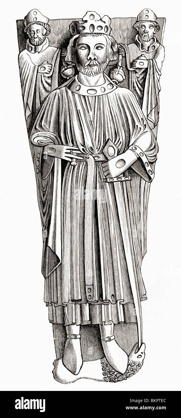 Effigy of king John on his tomb in Worcester cathedral. John, 1167 to 1216. King of England. - Stock Image