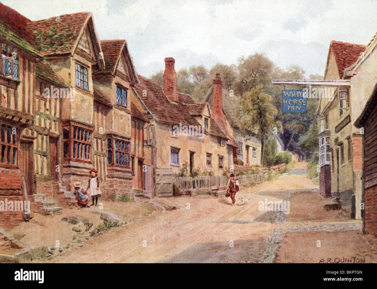 Houses formerly occupied by weavers, Kersey, Suffolk - Stock Image