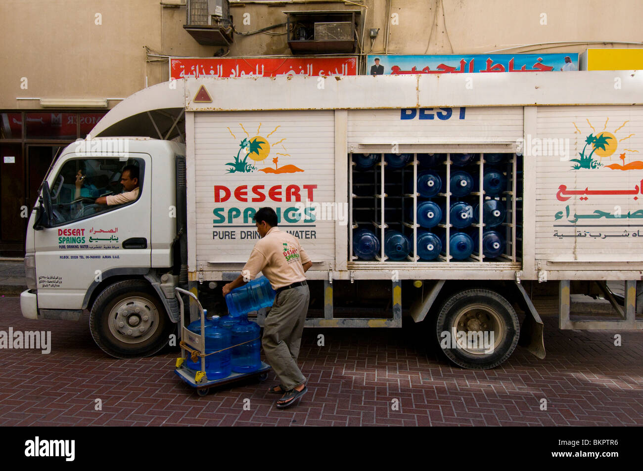 Mineral water delivery Dubai - Stock Image