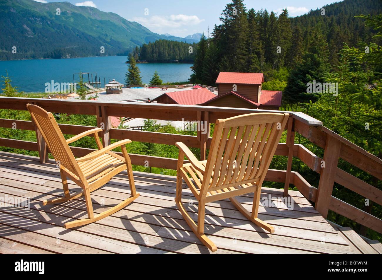View from the porch of a cabin at Tutka Bay Wilderness Lodge, Kachemak Bay State Park, Kenai Penninsula, Alaska, - Stock Image