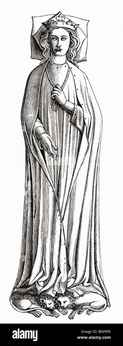 Eleanor of Castile, 1241 to 1290. First queen consort of Edward I of England. - Stock Image