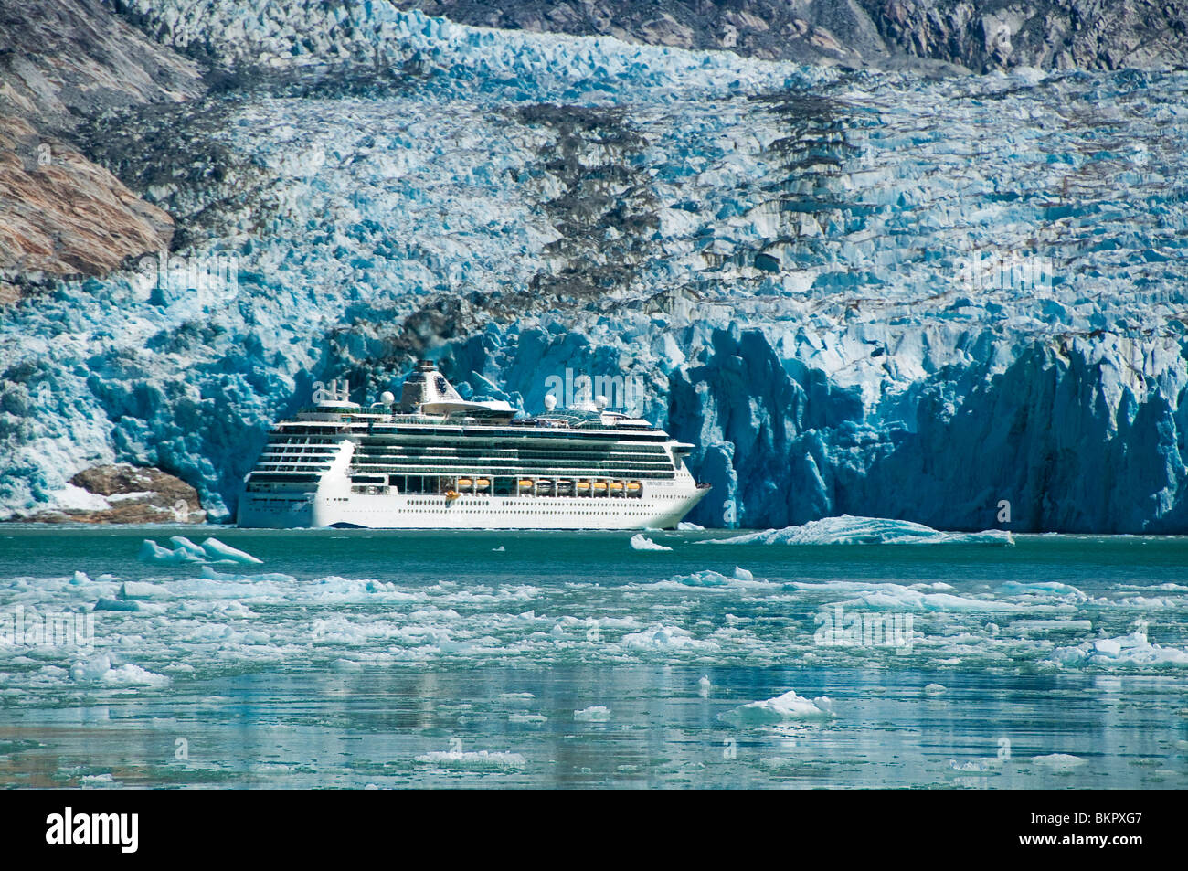 Royal Carribean cruise ship in Endicott Arm, Tracy Arm-Fords Terror National Wilderness, Southeast Alaska - Stock Image