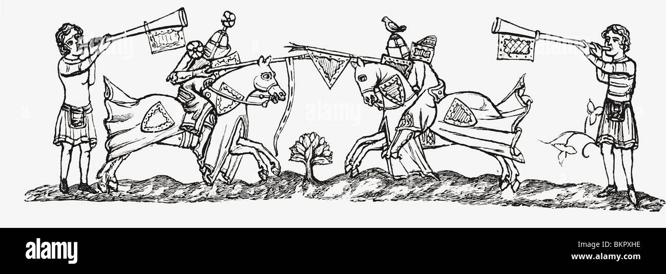 Tilting in the early fourteenth century. - Stock Image