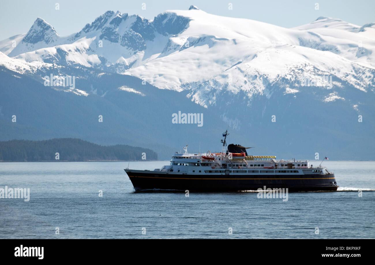 State Ferry F/V Taku in Stephens Passage, north of Petersburg, Alaska - Stock Image
