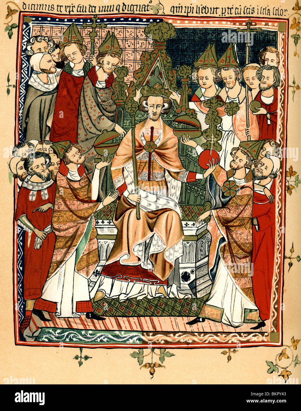Coronation of a king in the early fourteenth century. - Stock Image