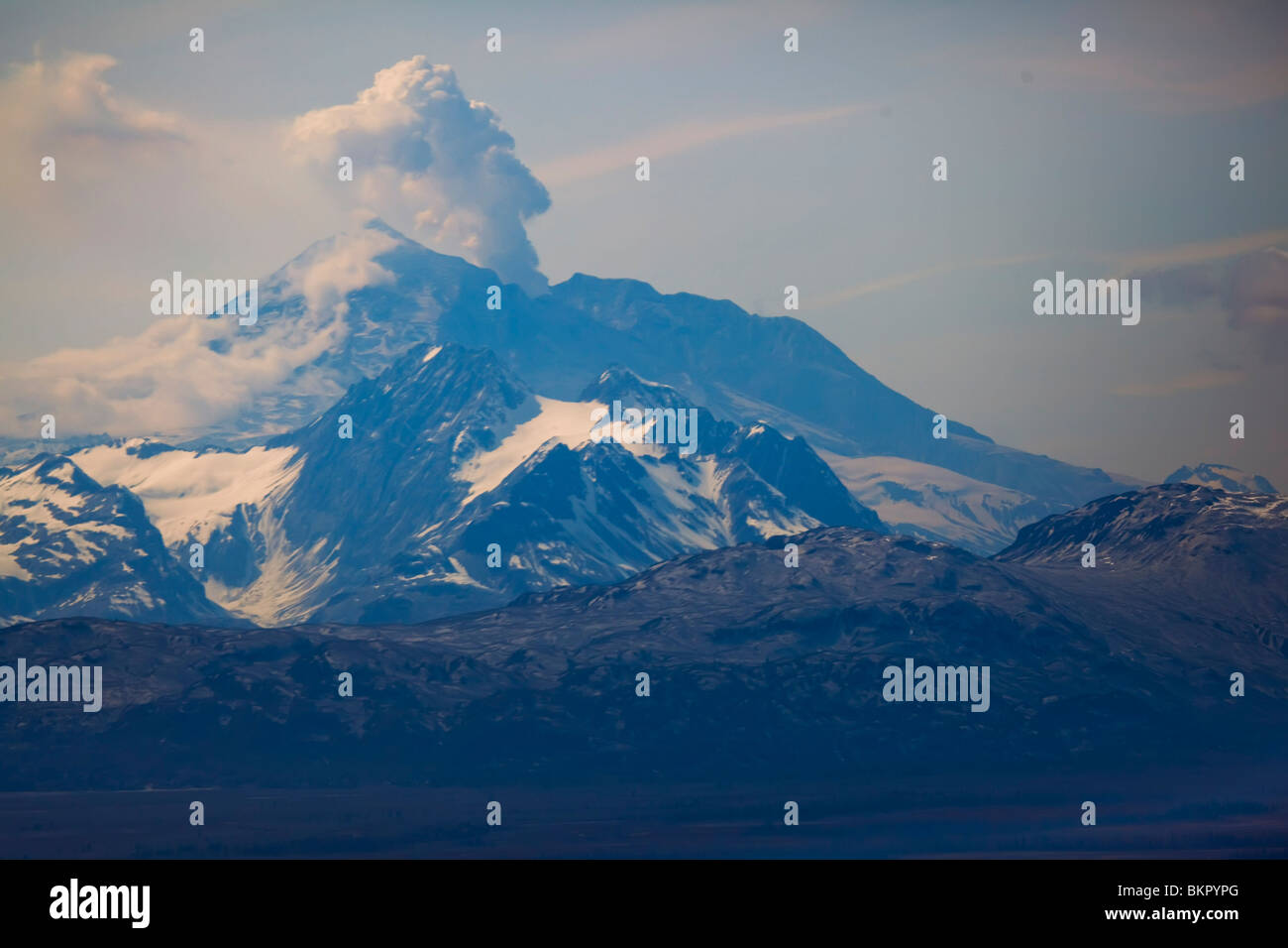 Mount Redoubt taken from a helicopter - Stock Image