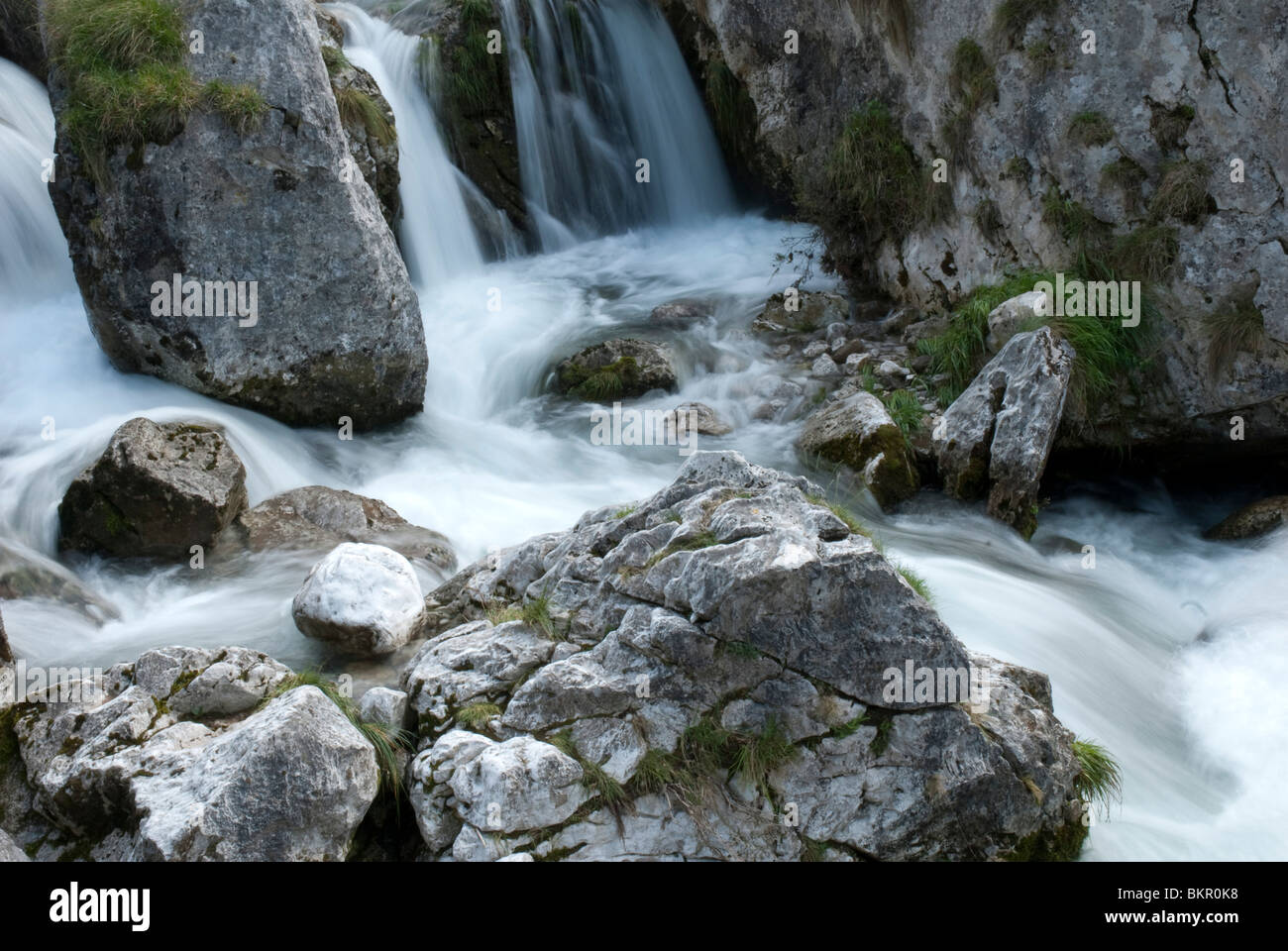 Stream & waterfall, Bulnes, Central Massif, Picos de Europa, Spain - Stock Image