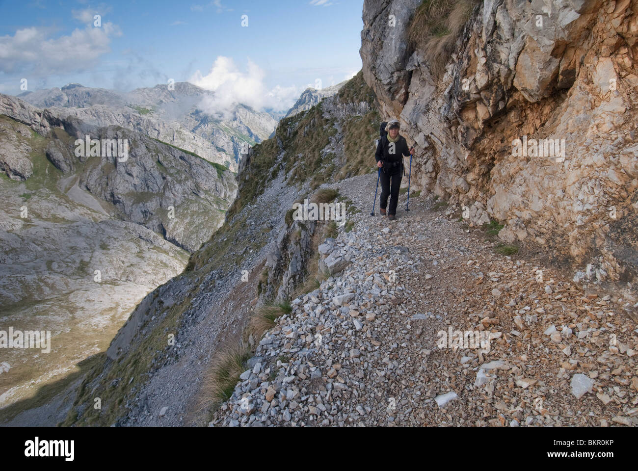 Walking in the Central Massif, Picos de Europa, Spain - Stock Image