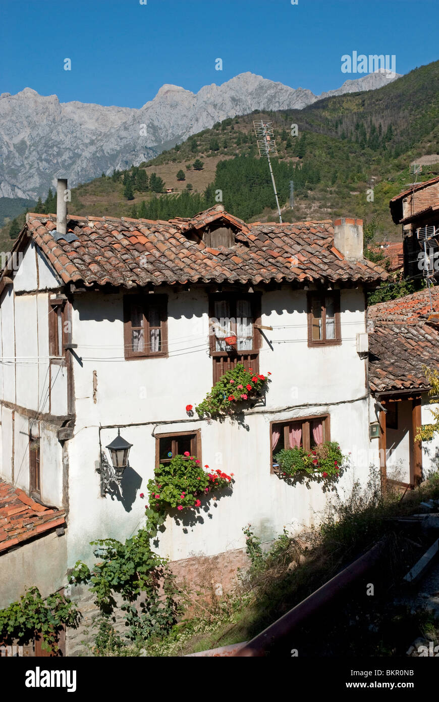 Traditional architecture in the town of Potes, Picos de Europa, Northern Spain - Stock Image